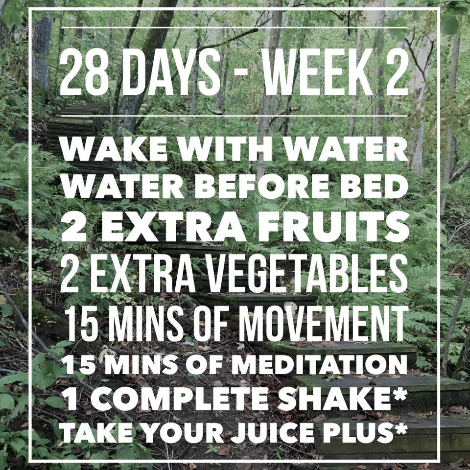 Week Two! Now we are going to ensure we drink water right away in the morning, and before we go to bed. (Ideally we would drink water throughout the day).  Now we add one more fruit and one more veggie on from last week. This is two more of each than what you averaged in your assessment week. I like often prepare my produce right away when I get home from shopping. That way its nice and easy to take it out of the fridge and eat it when I'm hungry.  Add a little more movement time (5 more minutes added onto this week and 15 more minutes added to assessment weeks movement time).  Lets get some more ME time! What do you say?! This can be difficult, especially for anyone who has kids, or cats, or dogs... or what ever the issues may be. But try to get in these crucial 15 minutes of YOU time. Do what you love, and love what you are doing. If you find you wish you were doing something else, or the time is going really slow, maybe rethink that you are doing. This should be something you actually enjoy and allows for you to forget all of your problems, and the worlds problems. You hopefully be a happier person for taking this you time.  Use these movement and meditation segments to try new things out. Maybe you will find something you are really passionate about and love! Play around with it and have fun!