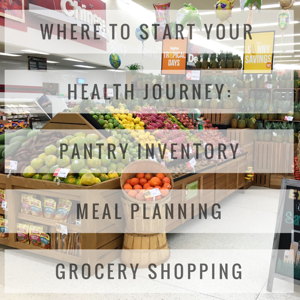 Starting your health journey is often very intimidating. There are so many aspects to think about! I prefer to break it up into section, all of which revolve around what we put into our bodies. I start by taking doing a pantry inventory, the move on to meal planning, and finally we plan a grocery shopping trip! The grocery shopping trip will have a detailed list of items to buy, all of which should help you with your meal plan and will change what your pantry inventory looks like!  Goal - Increase the number of healthful foods that are kept in the house. By making the healthful foods readily available we are more likely to consume them on a regular basis.