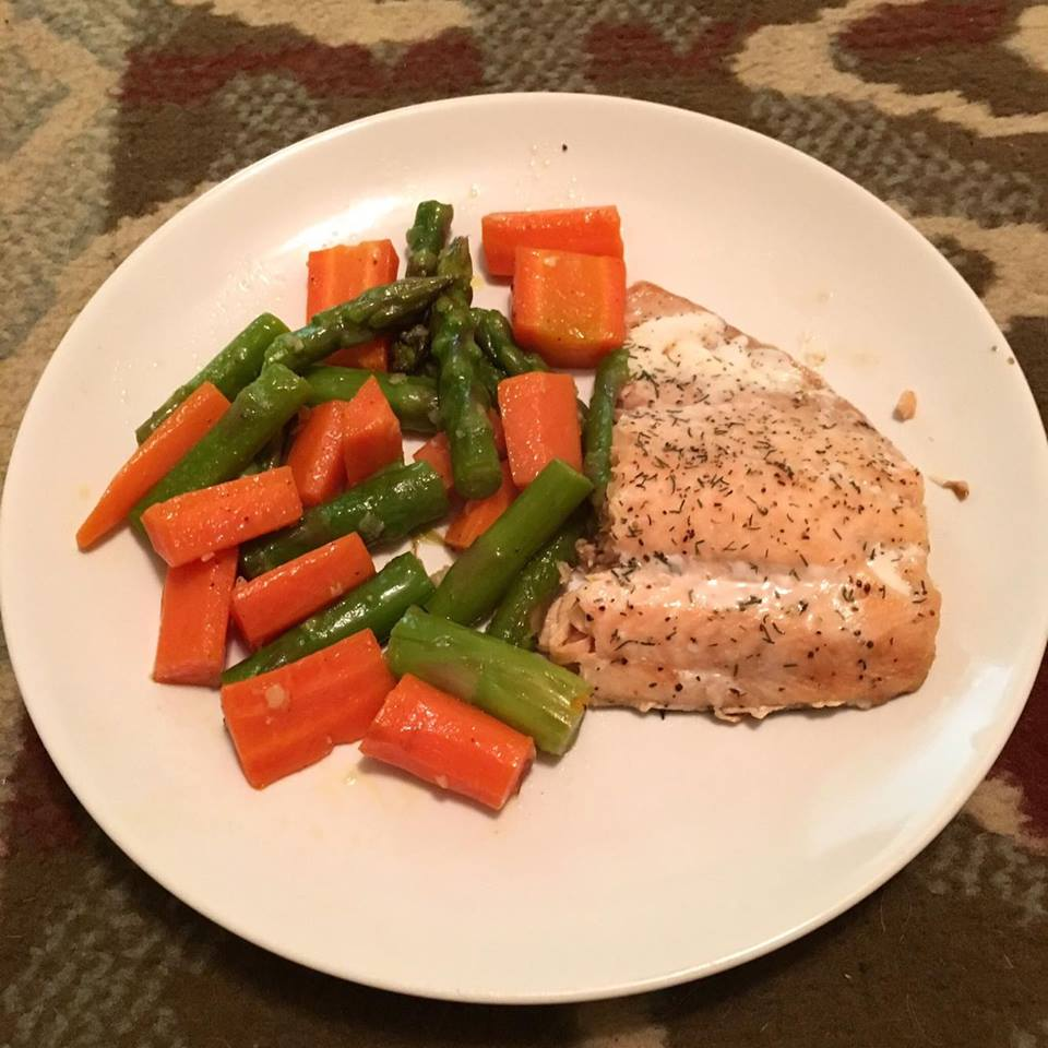 Salmon Carrot and Asparagus