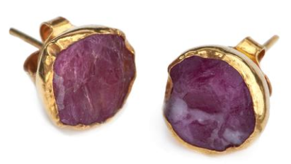 Gold Plate Ruby Studs