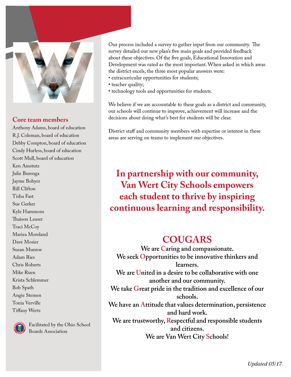 Page two of the Van Wert City Schools Strategic Plan explains the process in which it was developed, as well as the district's mission, goals, and the Strategic Planning committee members.