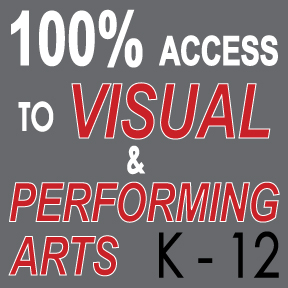 100% access to visual and performing arts for students in grades kindergarten through twelfth grade.