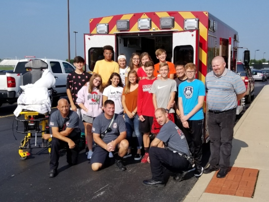 VWHS students with Van Wert Fire & EMS crew