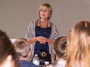 Van Wert City Schools Superintendent Vicki Brunn talks about her career during an Economic Advancement luncheon at the YWCA of Van Wert County. photos by Dave Mosier/Van Wert independent