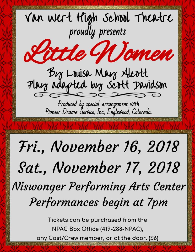 VWHS Theatre Announcement Little Women