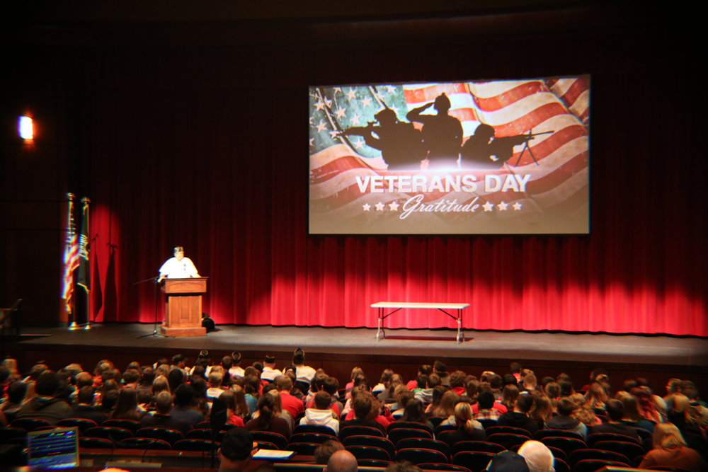 A Veteran speaks to VWHS students during the Veterans Day assembly