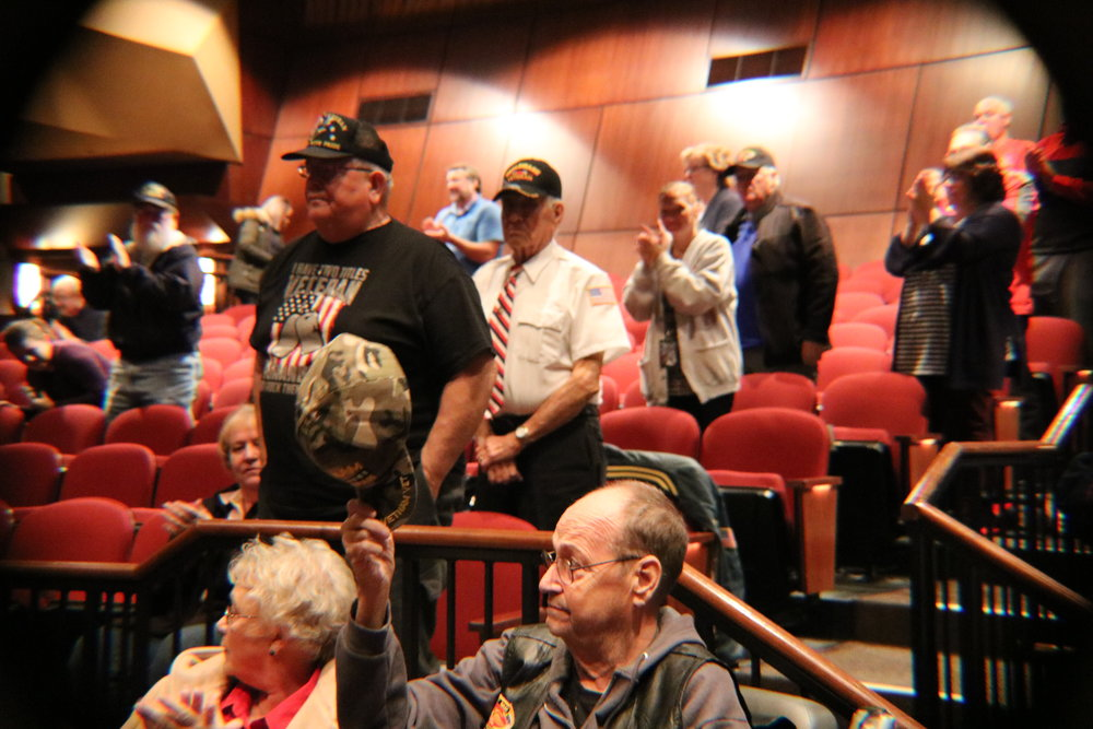 Local Veterans that attended the assembly are asked to stand