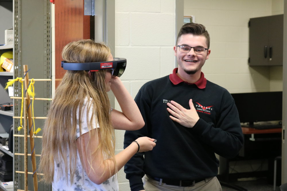 A student tries virtual reality for the first time.