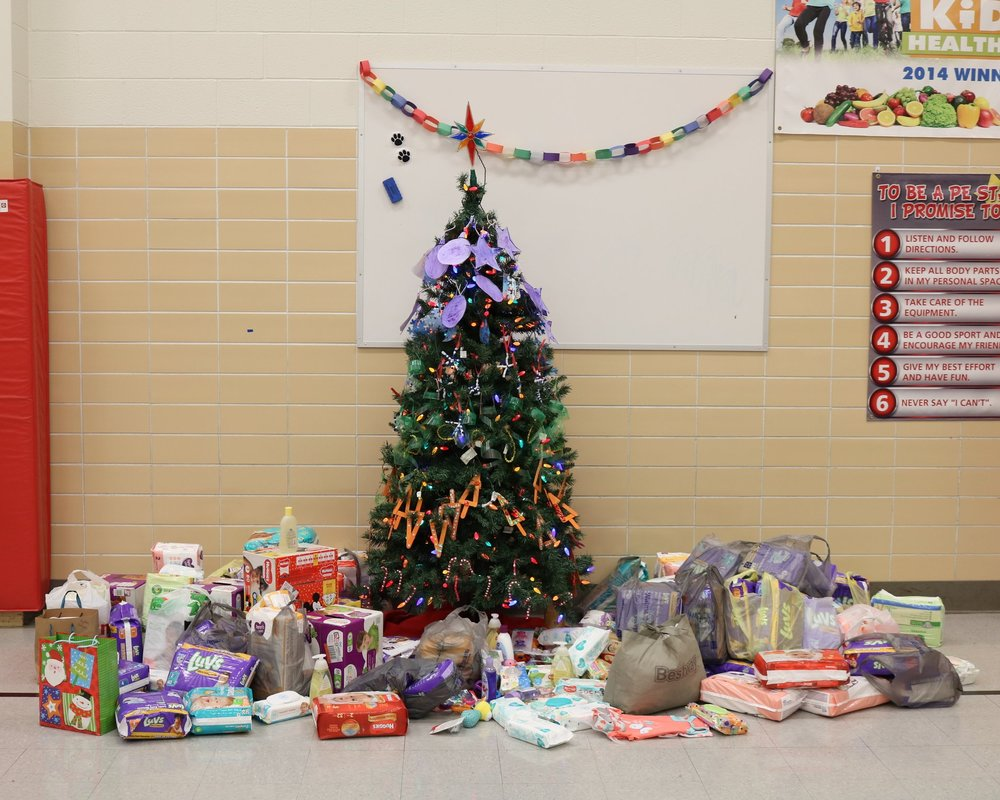 VWECC staff, parents and students were encouraged to donate items to the PLC Health Clinic in Van Wert. Items were collected and put under the tree at Tuesday's Christmas assembly.
