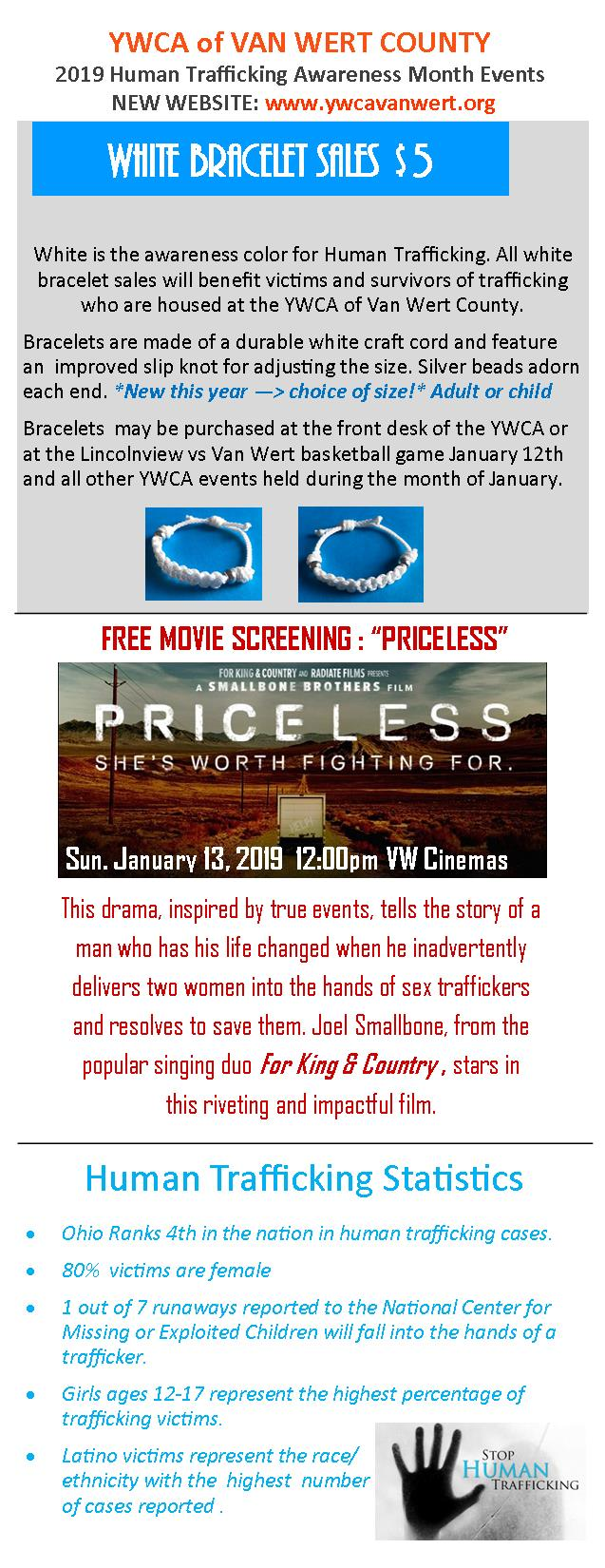 YWCA Human Trafficking Awareness Month flyer - back side