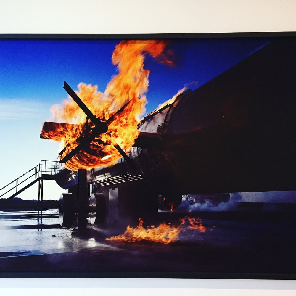 Richard Mosse  Carvair Blackpool , 2008. Disaster response shot of a burning plane. Striking fear into the hearts of pilot wives everywhere.
