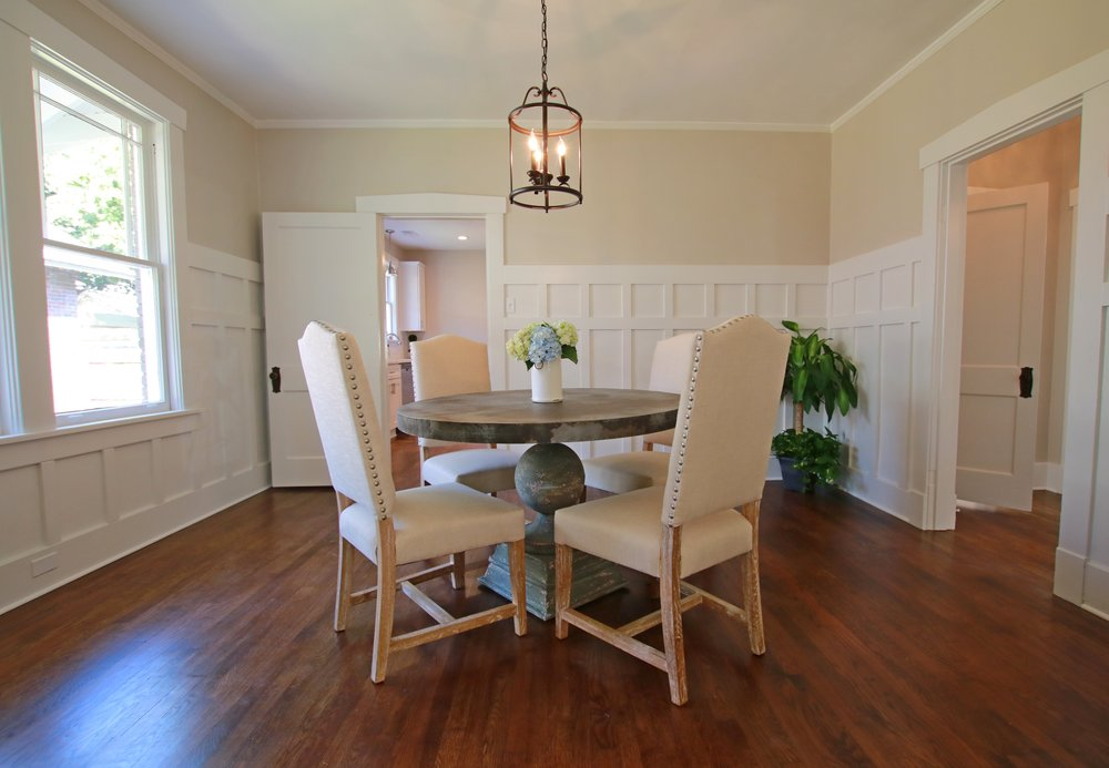Prime Design Memphis, LLC - Dining Room, Craftsman Style Bungalow, Wainscoting, Sherwin Williams Agreeable Gray, Neutral