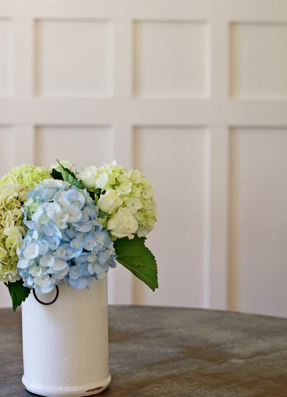 Prime Design Memphis, LLC - Dining Room, Craftsman Style Bungalow, White Wainscoting, hydrangeas