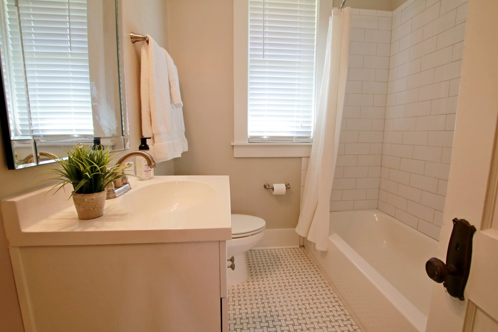Prime Design Memphis, LLC - Guest Bathroom, Gray and White, Sherwin Williams Agreeable Gray, Subway Tile