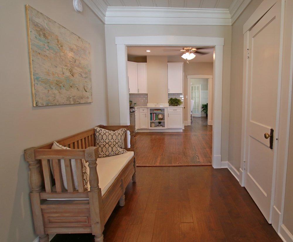 Prime Design Memphis, LLC - Den, Family Room, Sherwin Williams Agreeable Gray, Harwood Floors, Bench, Neutral, Art