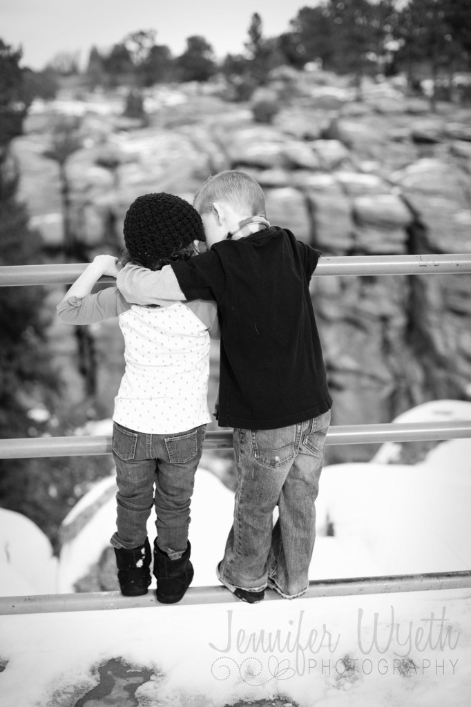 Brother and sister enjoying the view of the canyon below.