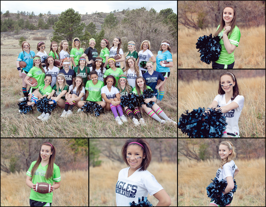 cheer team group image with coaches and pompoms