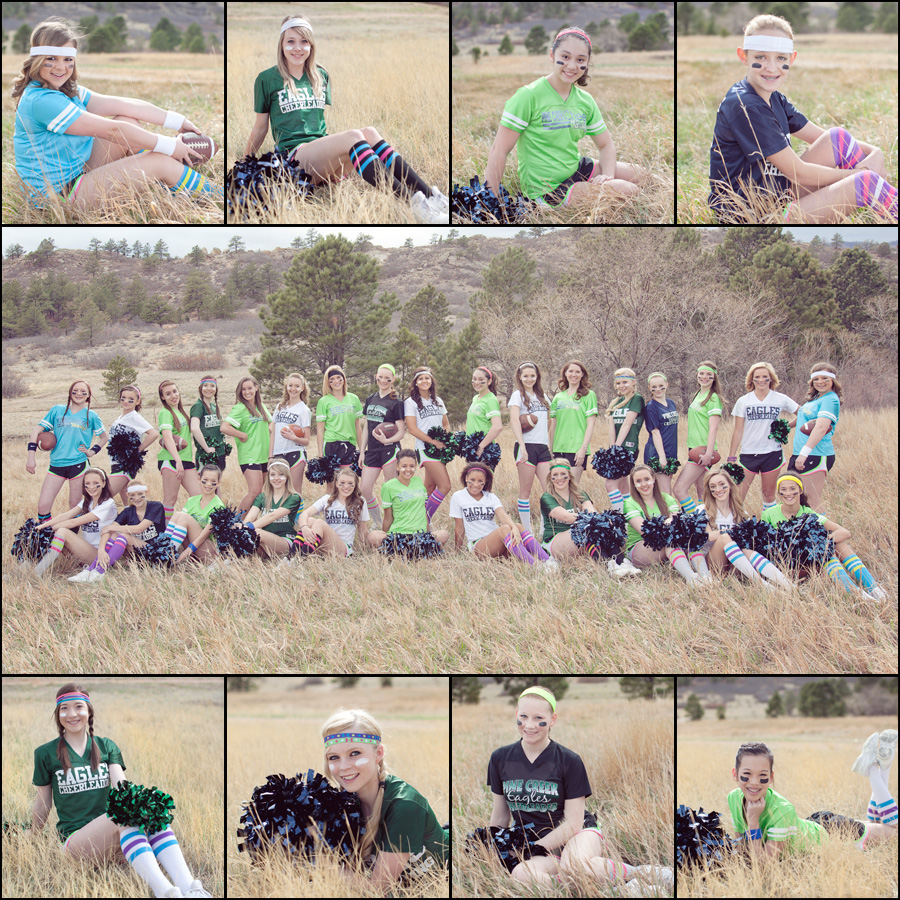 pine creek high cheerleaders in a field posing