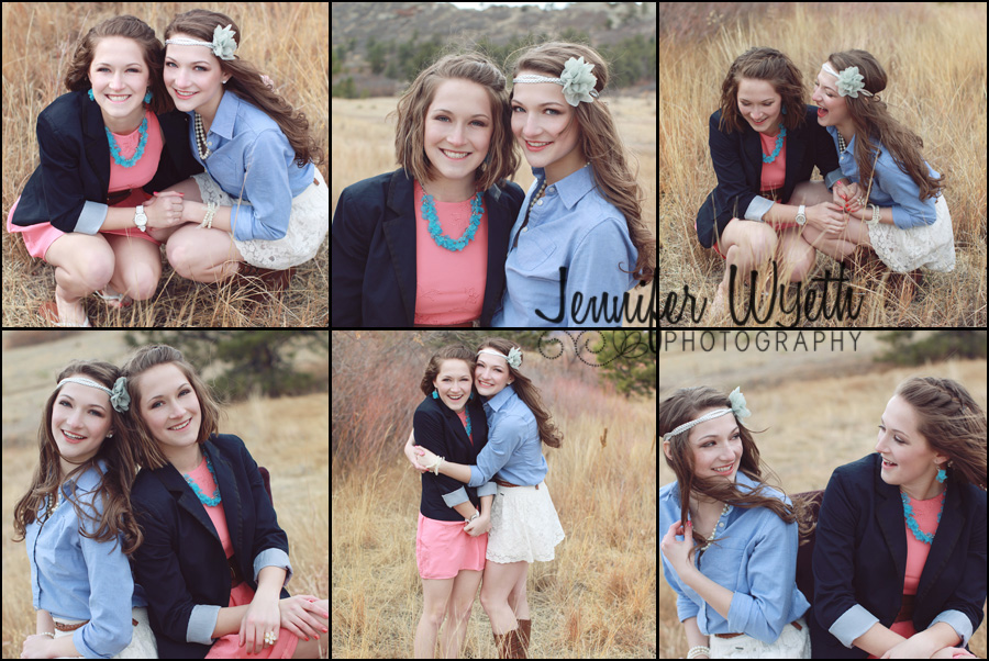 twin senior girls interact sweetly with each other in a cold windy field.