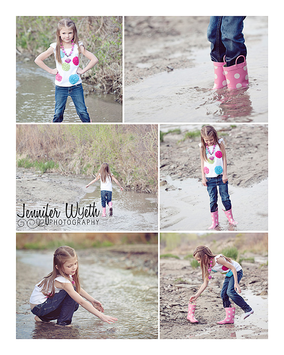 girl in pink rain boots plays and splashes in a stream