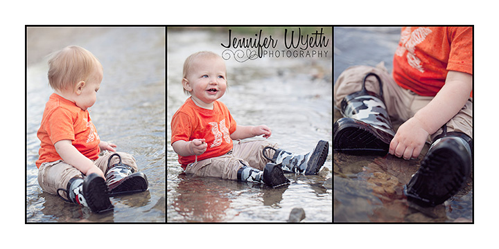 baby boy playing in stream and throwing rocks