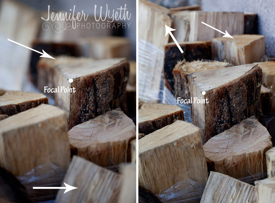 wood pile in and out of focus