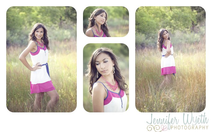 tall beautiful senior age girl striking a pose in a green field