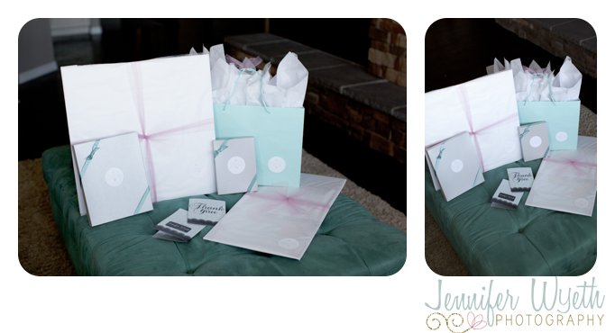 gray aqua pink and white packages