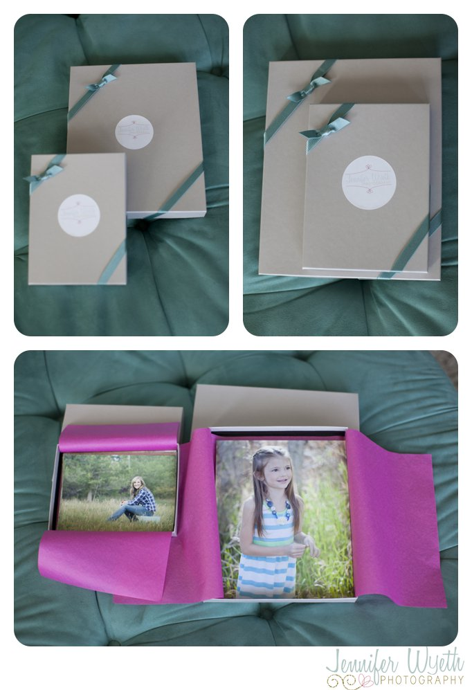 gift boxes that hold photographs for clients