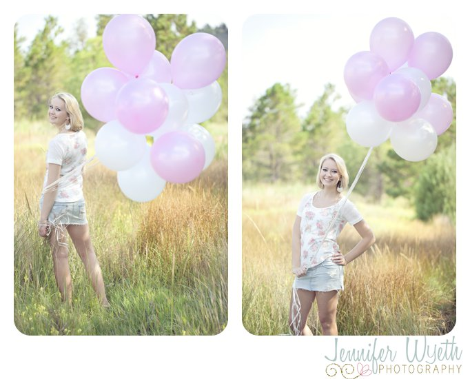 pink and white balloons as an accessory for high school girl