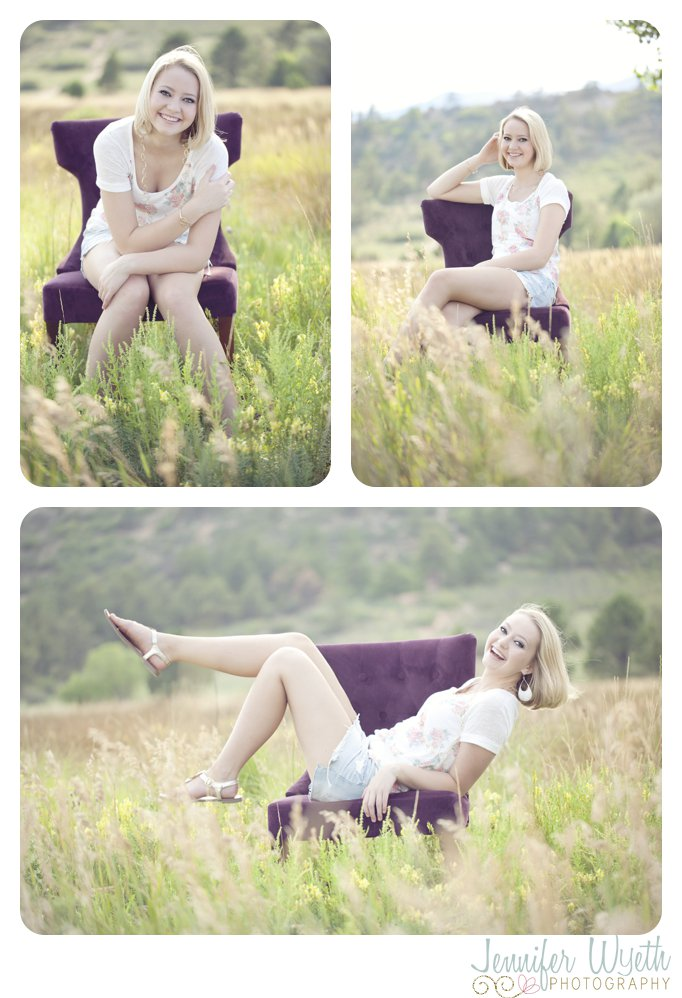pine creek senior girl in a field on a purple chair