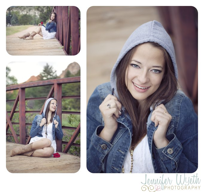 red wooden bridge and hoodie create a darling image of senior girl