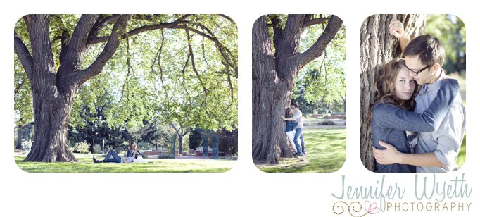 massive tree provides cover for a couple in love