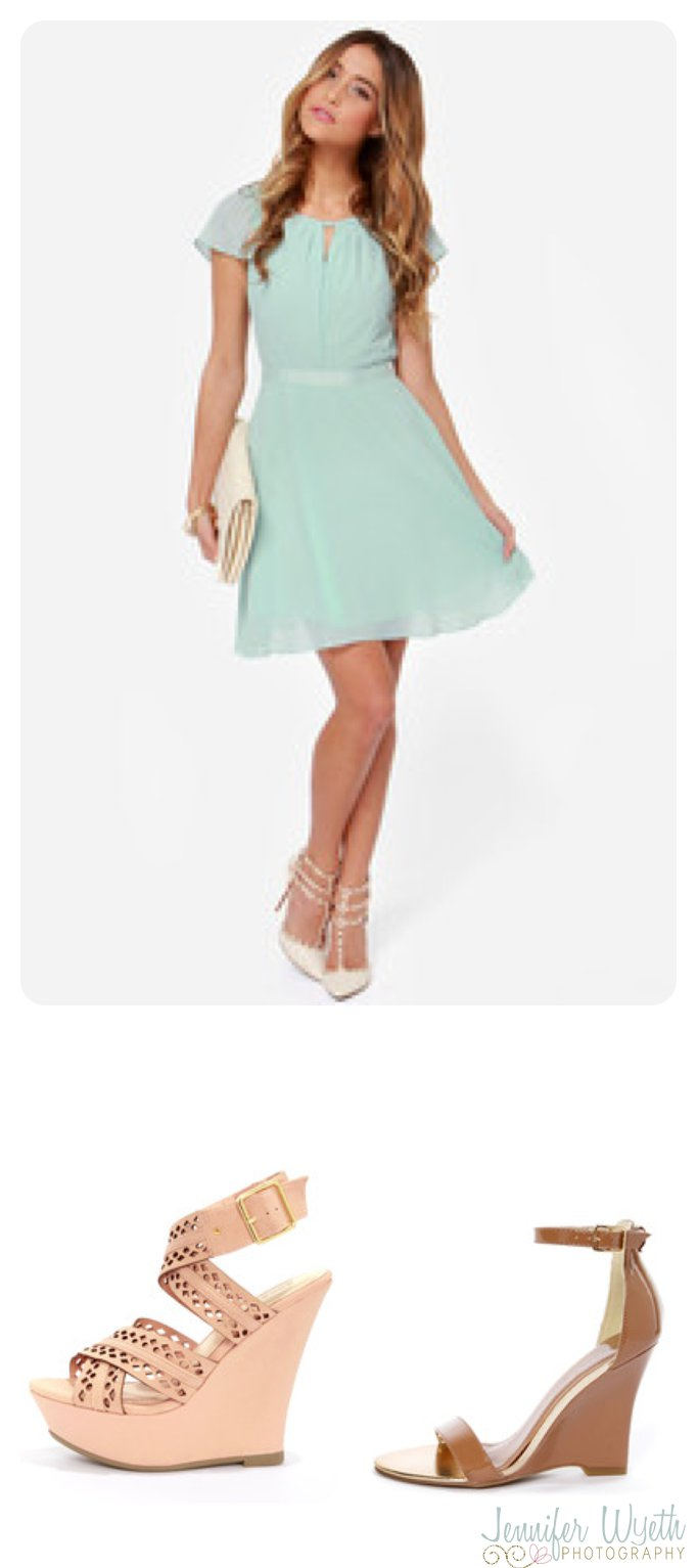 beautiful aqua sundress with a variety of shoes options for senior pictures