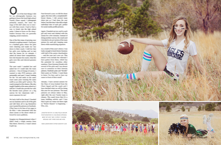 Cheerleading photography article for photography magazine