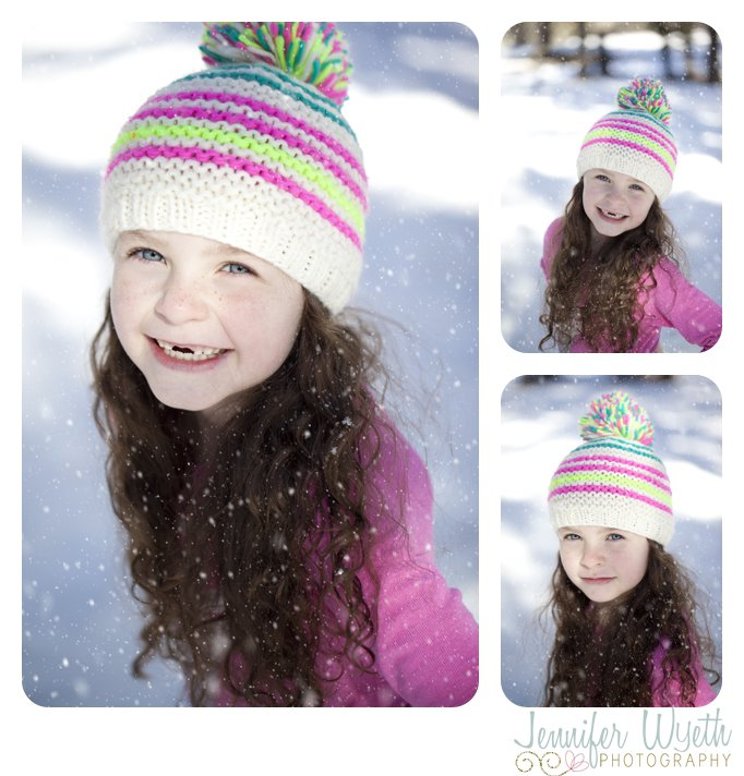 soft light and giggles from snow covered child