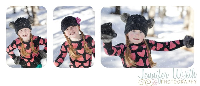 black mittens and hat accent a cute outfit for snow pictures