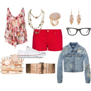 red shorts floral blouse jean jacket and glasses