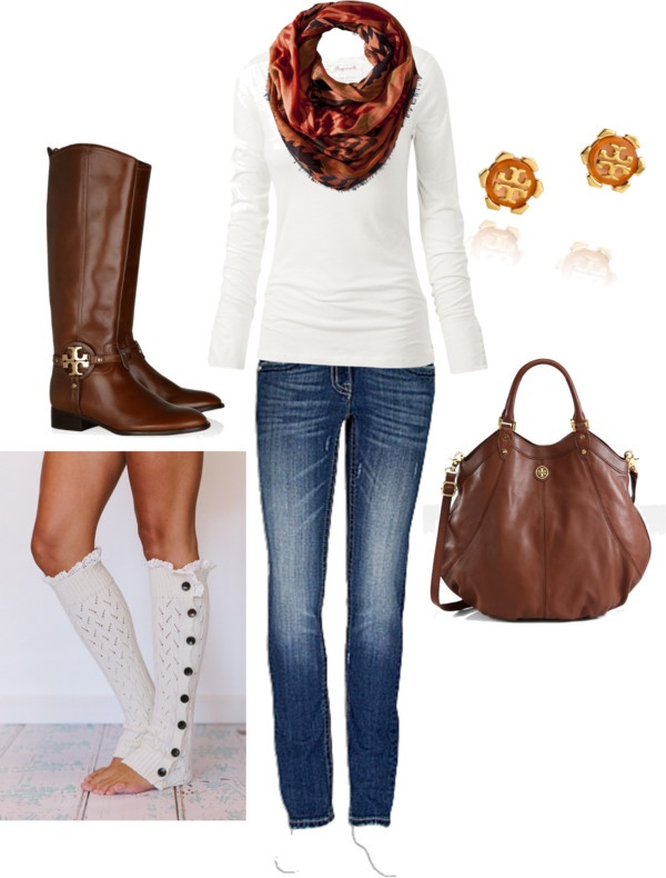 brown purse boots, scarf, jeans, boot socks