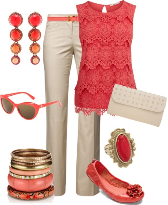 coral top, sunglasses, earrings, shoes, ring, kacki pants