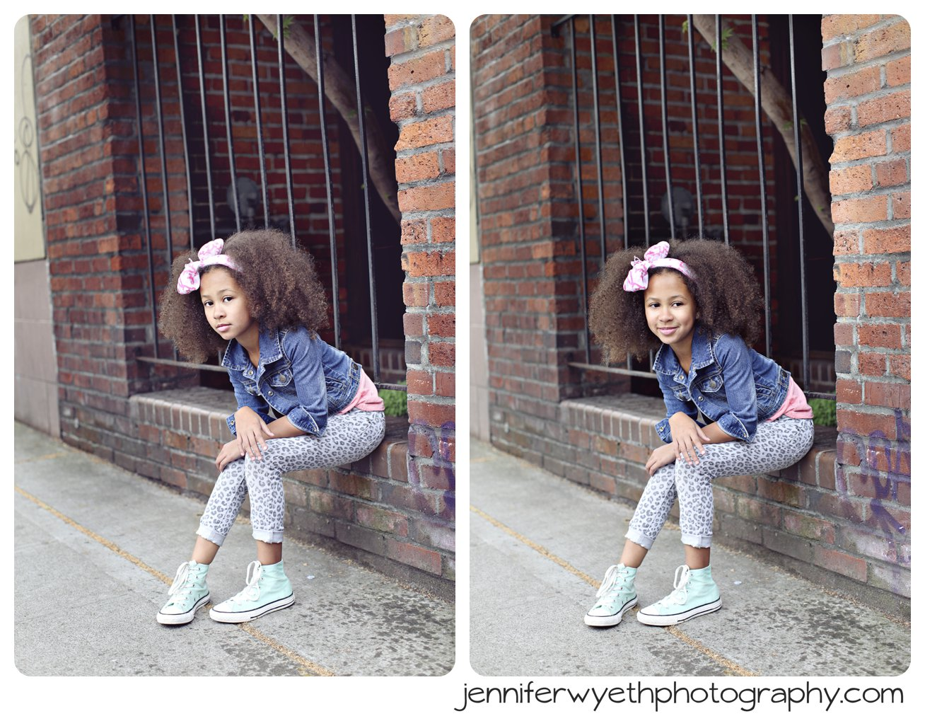 beautiful little girl sitting on a wall posing for cameras