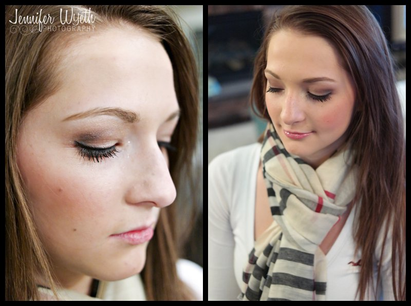 brunette with scarf shows off pristine make up