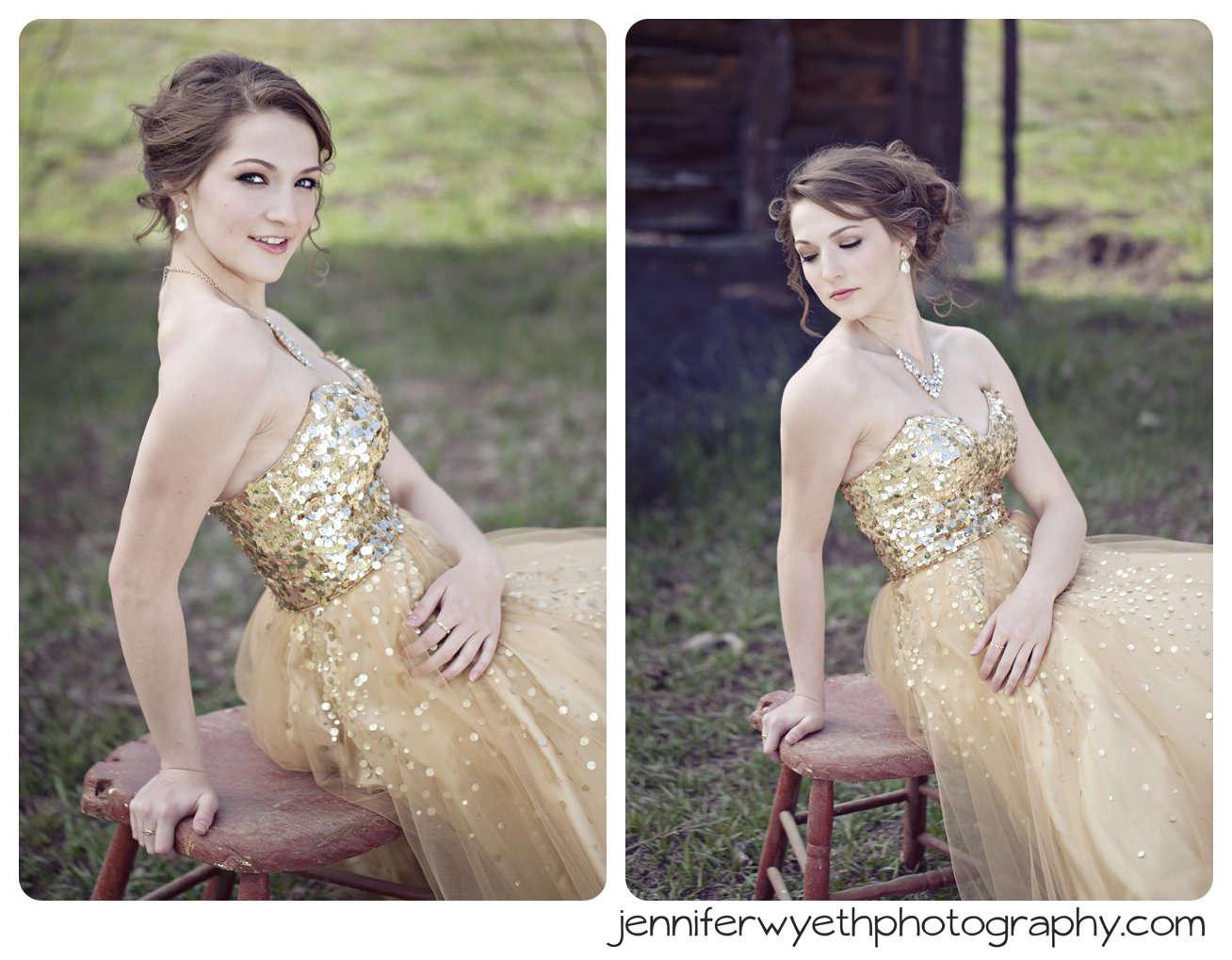 girl in prom dress sitting on a rugged stool in field