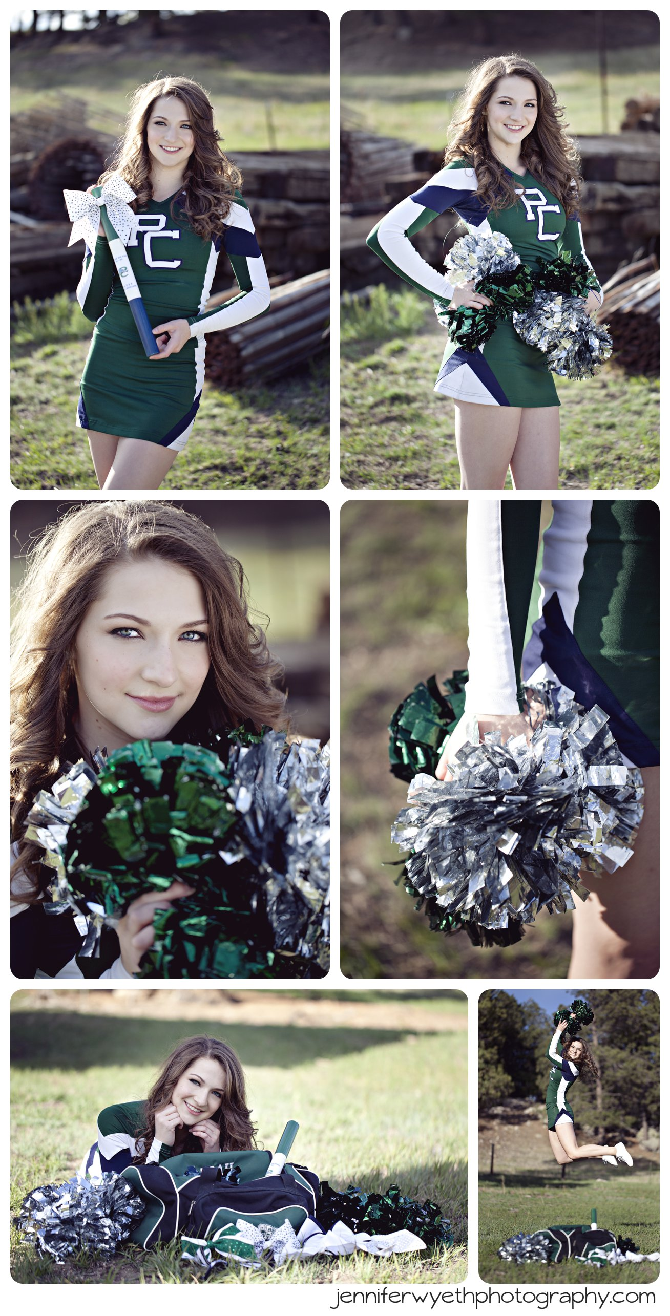 cheer captain in green and blue cheer uniform with poms and bows
