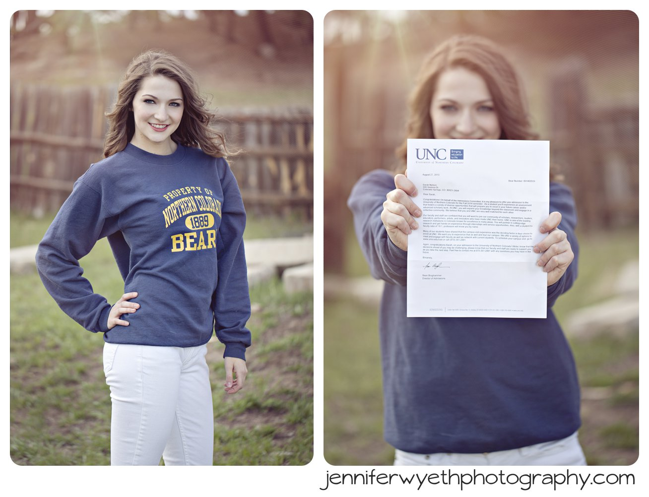 UNC bears sweatshirt and acceptance letter worn by incoming freshman