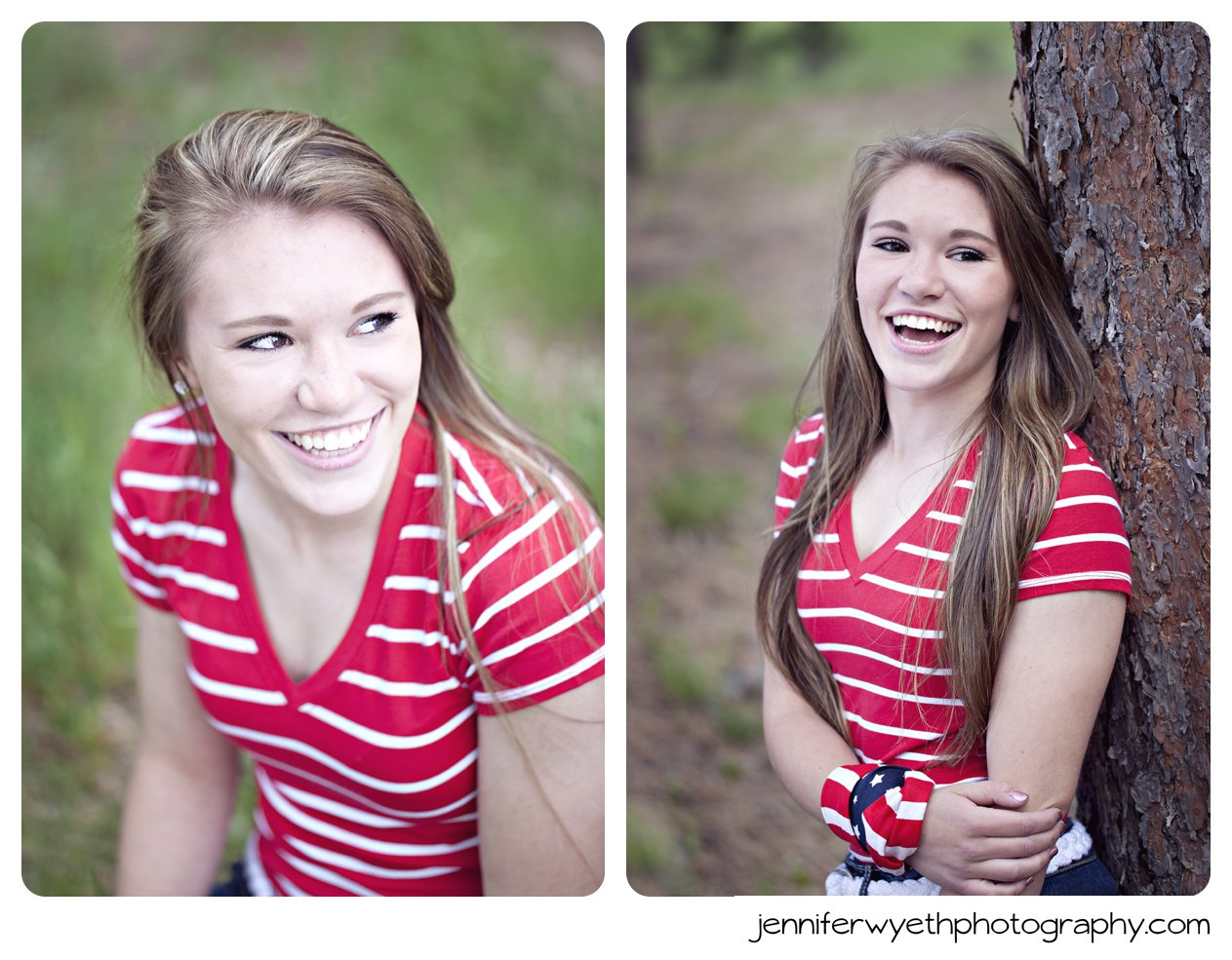 long brown hair and bandana on senior girl leaning against tree and smiling at friends