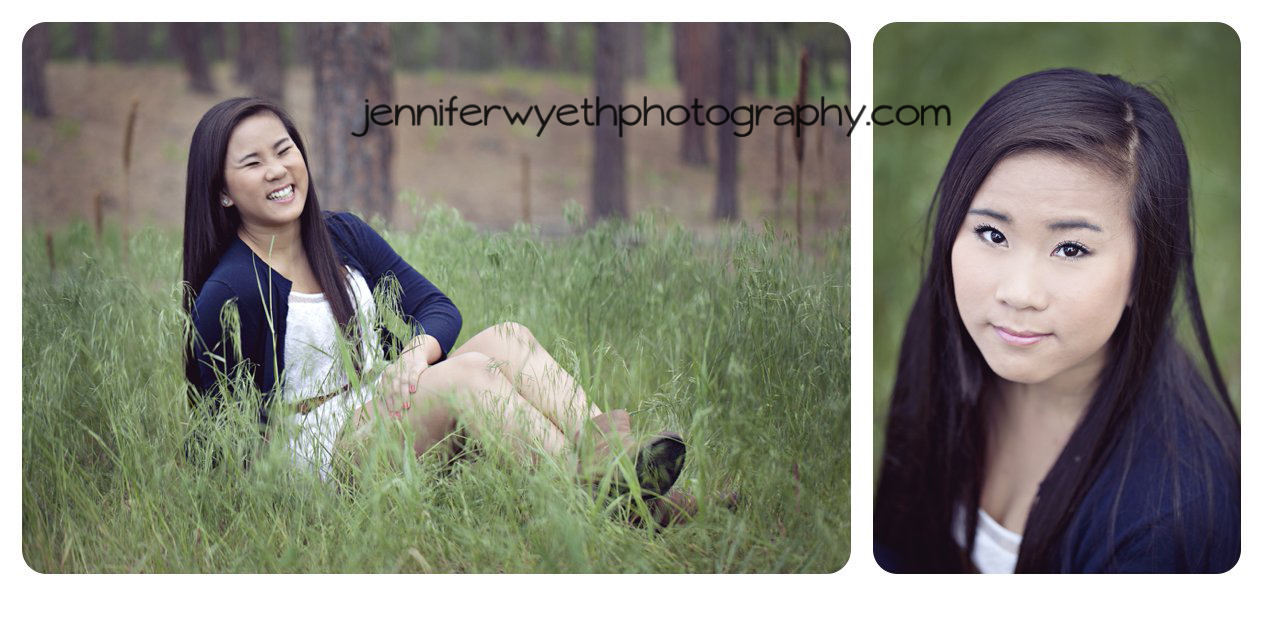 sitting in tall grass teen girl laughs and enjoys black forest