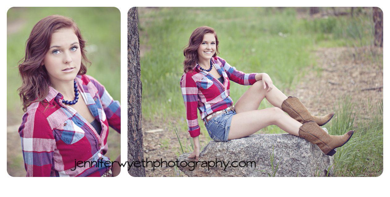 plaid shirt and cowboy boots  on sitting red head