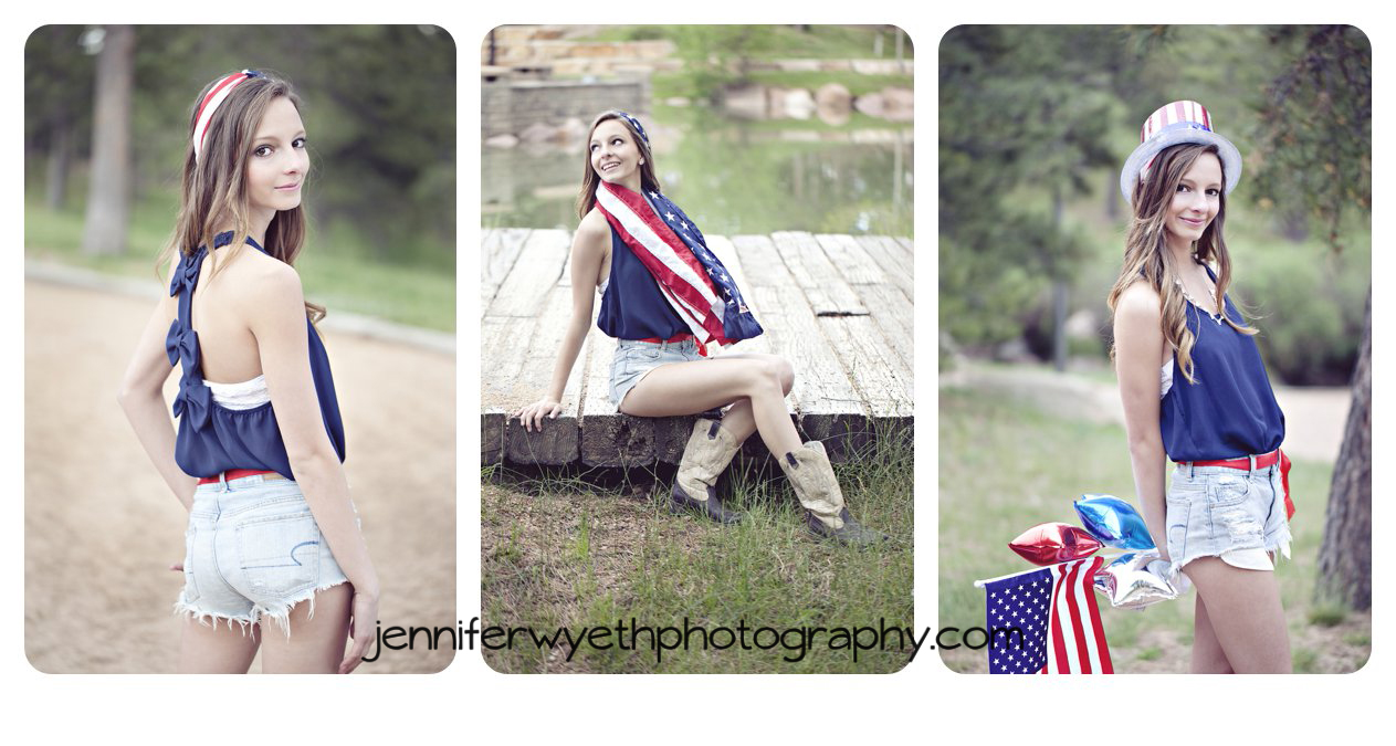 Using accessories senior girl in park poses for in blue tank and jean shorts