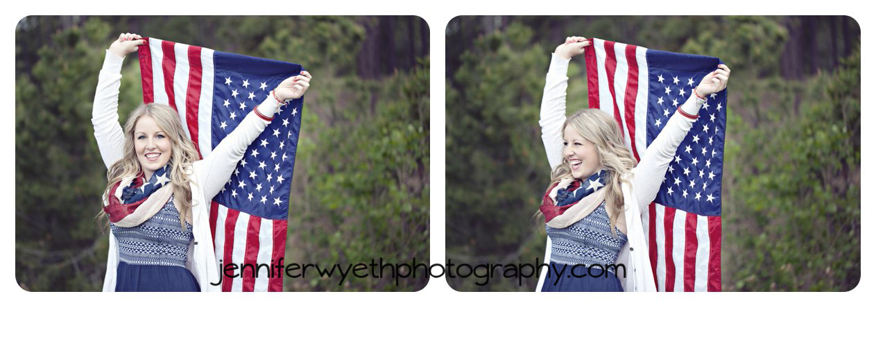 blond cheerleader holds American flag high showing her patriotism